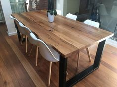 Melbourne recycled timber table with modern by RetrogradeMelbourne