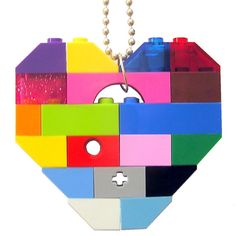 Rave PLUR colorful necklace  Chunky heart by MademoiselleAlma #MademoiselleAlma #LEGO #ETSY