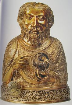 Relic holder of a part of the skulls of St. John the Baptist, made in Prague, considered a masterpiece of Gothic sculpture.
