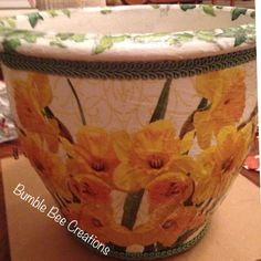 Decoupaged daffodil planter
