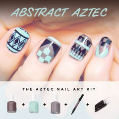 Aztec nail art design. I am in ❤ with this look.