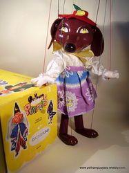 SHOP 1963 Tagged - The Vintage Pelham Puppet Shop Very rare Dachshund £350