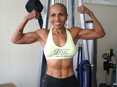 Ernestine Shepherd, oldest female body builder at age 74.  Started pumping iron at 56.