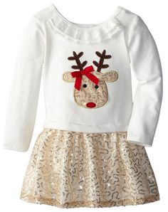 Bonnie Jean Little Girls' Dress Reindeer Sequined Applique Skirt Set: Ivory knit bodice to gold sequin drop waist skirt and reindeer applique Baby Outfits, Little Girl Outfits, Cute Outfits For Kids, Toddler Outfits, Rock Outfits, Couple Outfits, Toddler Christmas Outfit, Baby Girl Christmas, Girls Christmas Dresses
