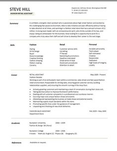 images about all about the resume on pinterest   cv template    sample cv targeted at fashion retail positions
