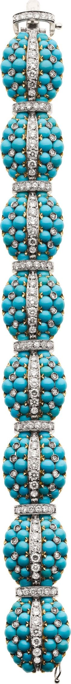 Turquoise, Diamond, Gold Bracelet. ... Estate JewelryBracelets | Lot #58452 | Heritage Auctions