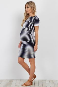 8e9091a0f608 Navy Ivory Striped Fitted Maternity Dress