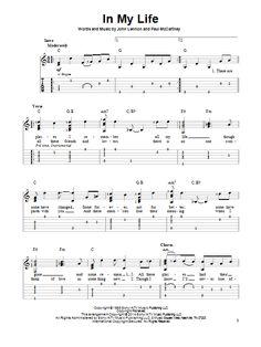The Beatles: In My Life - Partition Tablature guitare facile - Plus de 70.000 partitions à imprimer !