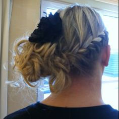 My bridesmaid / wedding hair. Side braid and twisted in a bun to the side.