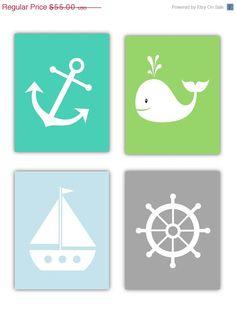 SALE Nursery Art Nautical Nursery Wall Art, 4- 8x10 prints, or toddler room on Etsy, $41.25