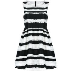 Yoins Dress ($22) found on Polyvore featuring dresses, yoins, black, cocktail dresses, kohl dresses, black stripe dress, black zip dress, striped cocktail dress and zipper dress