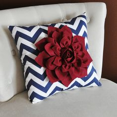 Ruby Red Dahlia on Navy Blue and White Zigzag Pillow -Chevron Pillow-