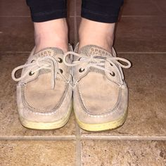 Sperry topsiders Tan Sperry shoes womens. Kinda worn but still cute! Sperry Top-Sider Shoes
