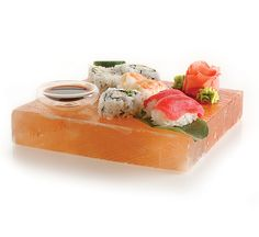 Himalayan salt blocks are perfect to use as serving platters. Chill the block in the refrigerator before serving items such as sushi, cheese, cold desserts! Cooking A Roast, Cooking Bacon, Cooking Turkey, Salt Block Cooking, How To Cook Squash, Cooking Fresh Green Beans, How To Cook Meatballs, Cold Desserts, Salty Snacks