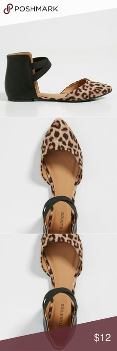Penny open side ballet flat with leopard print toe faux leather faux suede leopard print toe ballet style with open sides crossed elastic bands padded footbed  imported man made materials wipe clean Maurices Shoes Flats & Loafers