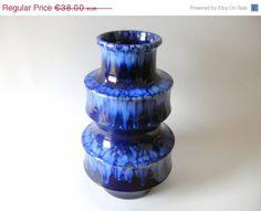 West german Scheurich 267-25 modernist blue vase. €30.40, via Etsy.