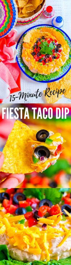 BEST TACO DIP RECIPE! A yummy Mexican appetizer that's quick and easy to make. Perfect for game day festivities, Cinco de Mayo parties, holidays and family get togethers. | #creamcheese #dip #appetizer #Mexican #partyfood #tacodip #easytacodip #tacodiprecipe