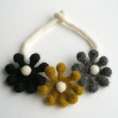 Woolly Bobble Flower Choker in Mustard, Gray and Charcoal. $29.00, via Etsy.