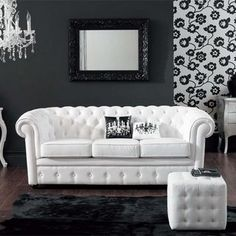 i love this couch with contemporary decor but white nope thats gonna have to wait for my grown up home one with no children thats never gonna happen black and white furniture