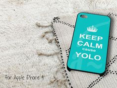 Keep Calm cause Yolo Turquoise iPhone 4 iPhone 4S by gardenpiano, $15.79