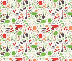 'Garden Delight' fabric at Spoonflower. I just really like this print--could see it used for something in a gardening program. Maybe little drawstring bags to keep seed packets in?