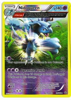 Rare Nidoqueen reverse holographic card, in near mint condition! Comes with a soft plastic protective cover. Ships with tracking. Cards weigh almost nothing - buy lots and pay just $2.60 shipping to t