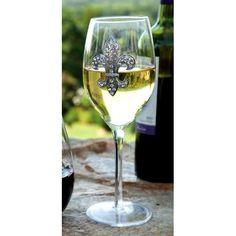Rhinestone Fleur de Lis Stemware Wine Glass