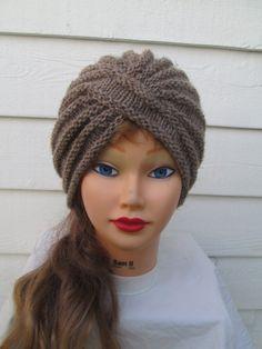 Knit Turban Gray Turban hat hand knitted womens by Ritaknitsall, $40.00