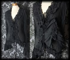 Gothic Black Crinkle Frilled CONCUBINE Wide Cuff Blouse 16 18 Vintage Victorian - £24.00