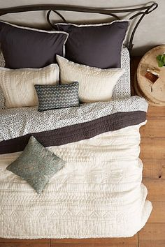 Stitched Kantha Coverlet @ anthropologie :: linens, neutrals, greys, slate, brown Love this quilt in our bedroom. Dream Bedroom, Home Bedroom, Bedrooms, Cozy Master Bedroom Ideas, Cozy Bedroom Decor, Bedding Master Bedroom, Granny Chic, My New Room, Home Interior