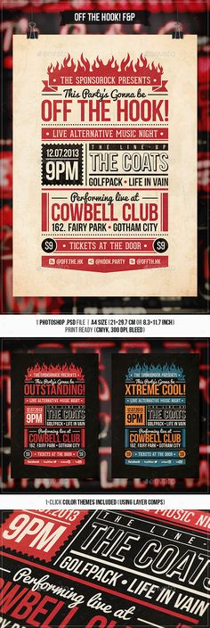 Vintage FlyerPoster Vol  Flyer Template Concert Flyer And
