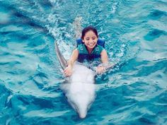 Swim with a dolphin! I would LOVE that.  My son wants to do it, too! :)