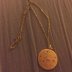 Virgo constellation necklace Gold chain with Virgo constellation on one side and Virgo written on the other. Jewelry Necklaces
