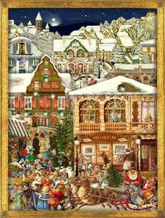 Victorian Christmas Village German Advent Calendar Made in Germany Countdown German Christmas, Old Fashioned Christmas, Christmas Past, Victorian Christmas, Christmas Greetings, Christmas Holidays, Xmas, Christmas Feeling, Illustration Noel