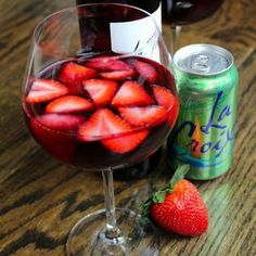 Skinny Strawberry Sangria: Only 3 ingredients and 75 calories per serving! California Strawberries + LaCroix Lime Sparkling Water + Red Wine