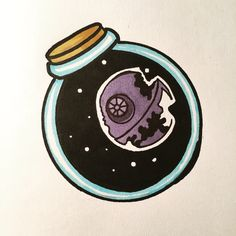 A Star Wars tattoo flash art style, the Death Star and Galaxy in a bottle done myself.