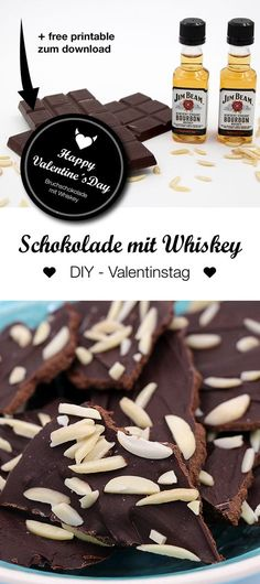 Gifts for men - make chocolate yourself with whiskey - DIY Valentine& Day gift: delicious homemade broken chocolate with Jim Beam Whiskey. Jim Beam, Valentines Bricolage, Valentines Diy, Valentine Day Gifts, Saint Valentine, Presents For Boyfriend, Boyfriend Gifts, Whisky, Saint Valentin Diy