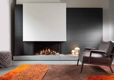 Modern Fireplace Design Ideas Perfect For This Winter - MagzHome Home Fireplace, Modern Fireplace, Living Room With Fireplace, Fireplace Mantels, Fireplaces, Painel Tv Sala Grande, Interior Design Living Room, Living Room Designs, Contemporary Fireplace Designs