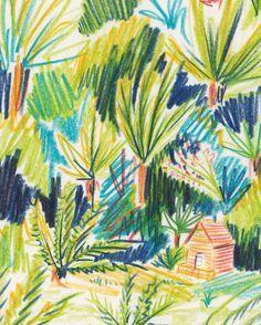 Landscape Illustration, Pencil Illustration, Botanical Illustration, Watercolor Illustration, Forest Illustration, Painting Inspiration, Art Inspo, Watercolor Sketchbook, Cute Art