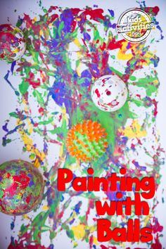 Making a Mess: Preschoolers Painting with Balls. Sensory, art, fun. The whole package. Click now!
