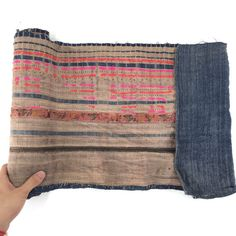 1a41c7ad38f0f Brown White Blue Nautical VINTAGE Fabric Hand Woven Batik Hand Dyed HEMP  HMONG Ethnic Tribal Textile