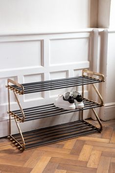 Ornaments & bits Three-Tier Black & Brass Shoe Rack Selecting A Hardwood Floor For Your Home Article Slim Shoe Rack, Narrow Shoe Rack, 3 Tier Shoe Rack, Metal Shoe Rack, Shoe Rack Bench, Shoe Storage Rack, Narrow Shoes, Wood Storage Bench, Shoe Rack Cupboard