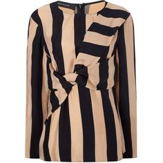 Cédric Charlier Camel Striped Twist Front Blouse ($560) ❤ liked on Polyvore featuring tops, blouses, beige, beige long sleeve blouse, black top, print blouse, beige blouse and twist front blouse