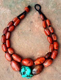 by Jacob (Jake) March | Necklace; antique and ancient Pema Raka carnelian beads combined with a huge piece of antique Tibetan turquoise | 3325$