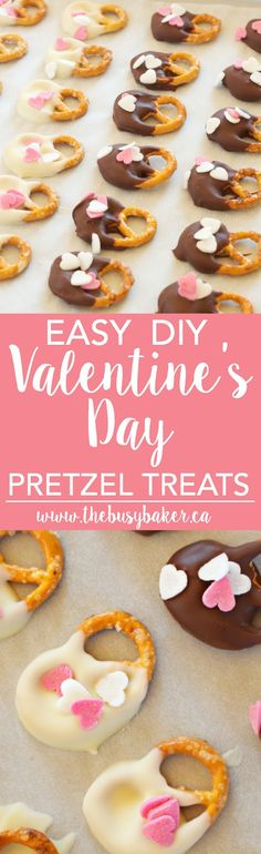 These Easy DIY Valentine's Day Pretzel Treats are perfect for making with kids! www.thebusybaker.ca