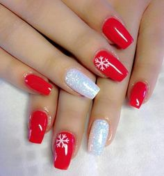 30 Super Cute Red Acrylic Nail Designs To Inspire You ; matte nails for fall;easy designs for short nails; Winter Nail Designs, Winter Nail Art, Christmas Nail Designs, Winter Nails, Nail Ideas For Winter, Christmas Design, Xmas Nails, Holiday Nails, Fun Nails