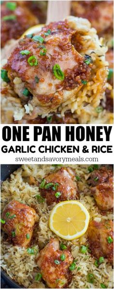 One Pan Honey Garlic Chicken and Rice is such a delicious and easy dish to make. Sweet and savory tender chicken baked with flavorful rice.