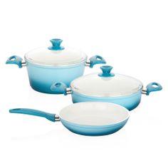 Bernardo Trendy Tencere ve Tava Seti / Cooking Pot and Pan Set #bernardo #kitchen #mutfak #cooking #yemek #blue #mavi