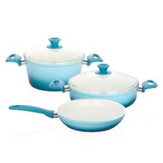 Bernardo Trendy Tencere ve Tava Seti / Cooking Pot and Pan Set #bernardo #kitchen #mutfak #cooking #yemek #blue #mavi