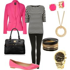 Black striped tee, Black leggings, Pink Shoes, Golden accesories - Casual Outfit